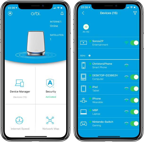 Netgear Orbi - App - Inställningar
