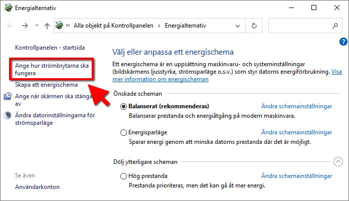 Windows 10 - Energialternativ - Ange hur strömbrytarna ska fungera