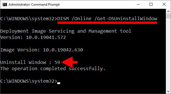 Ändra dagar ångra uppdatering Windows 10