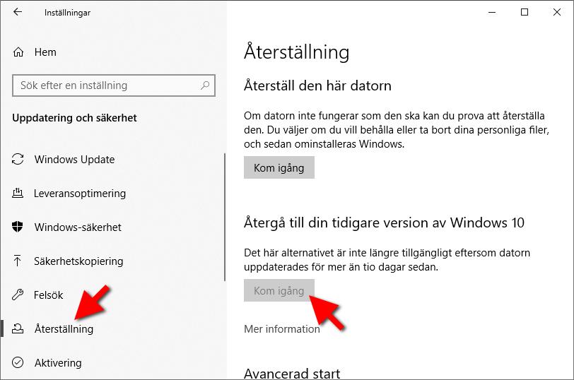 Återgå till din tidigare version av Windows 10