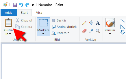 Klistra in - Print Screen - Paint