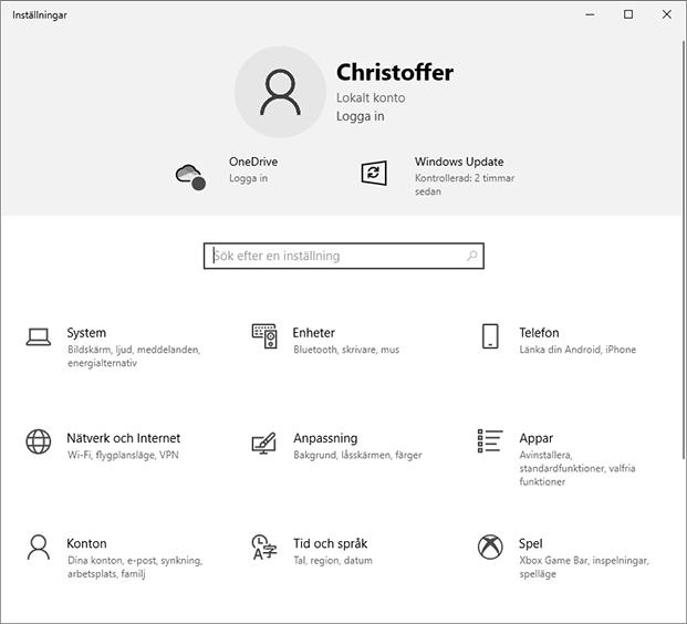 Windows 10 - Inställningar