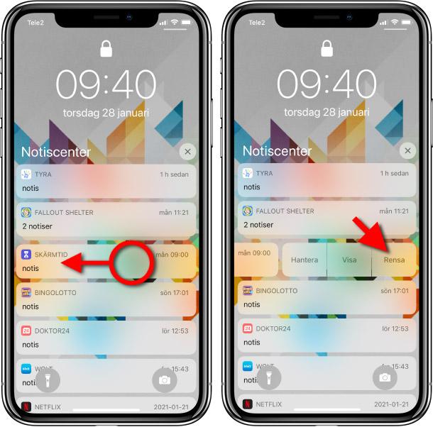 iPhone - Rensa - Ta bort en notis - Notifikation