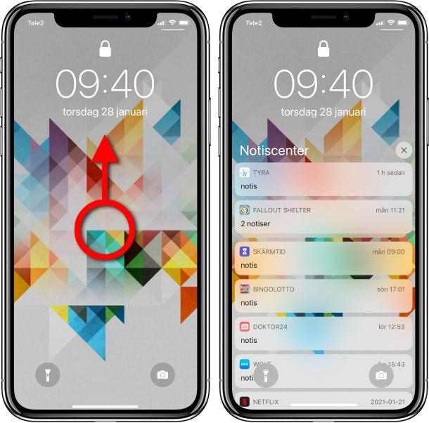 Se notiser iPhone - Svep uppåt från mitten