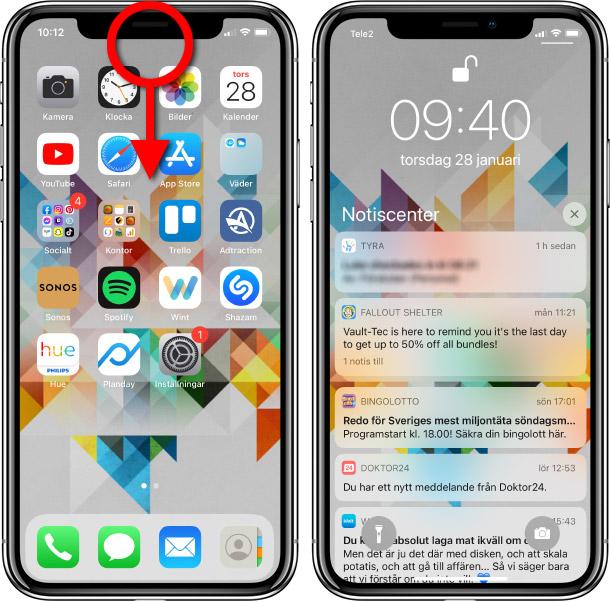 Se gamla notiser - iPhone - Upplåst