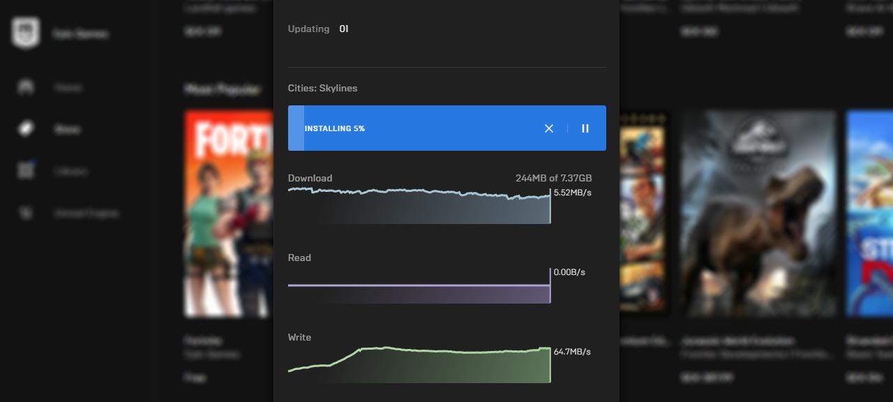 Epic Games Launcher - Begränsa nedladdning hastighet