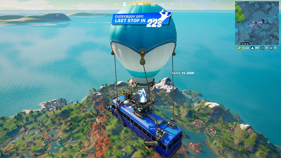 Fortnite - Battle Bus - Hoppa till - Ön