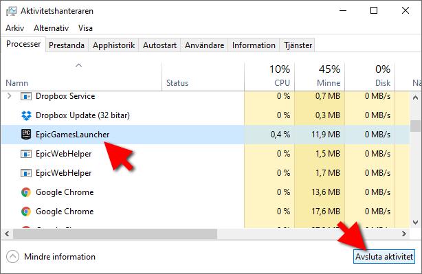 Aktivitetshanteraren - Avsluta ett program - RAM-minne