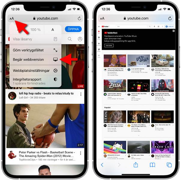 Begär webbversion av YouTube - iPhone - Musik avstängd skärm