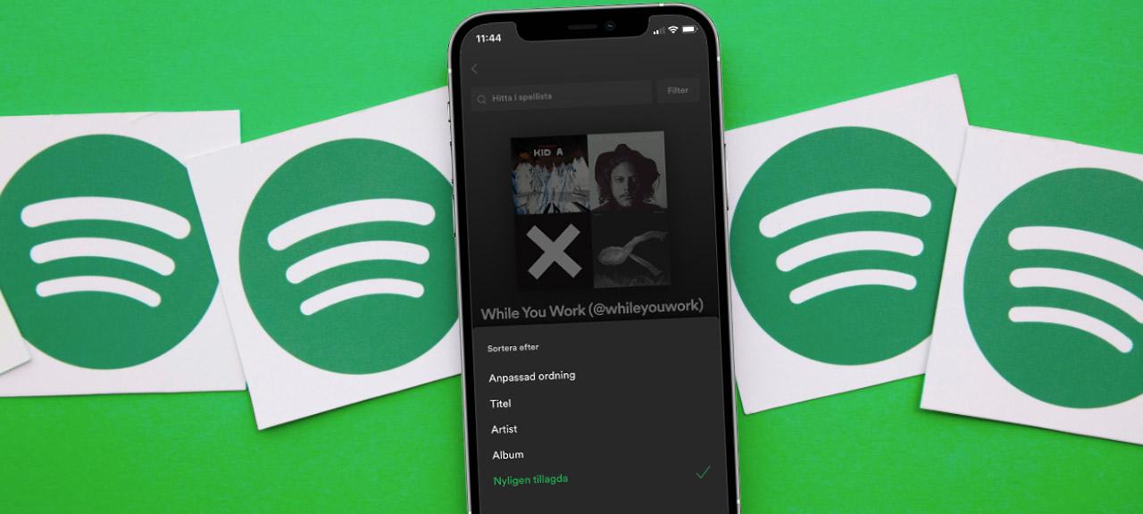 Ändra ordning på spellistor i Spotify - Mobil