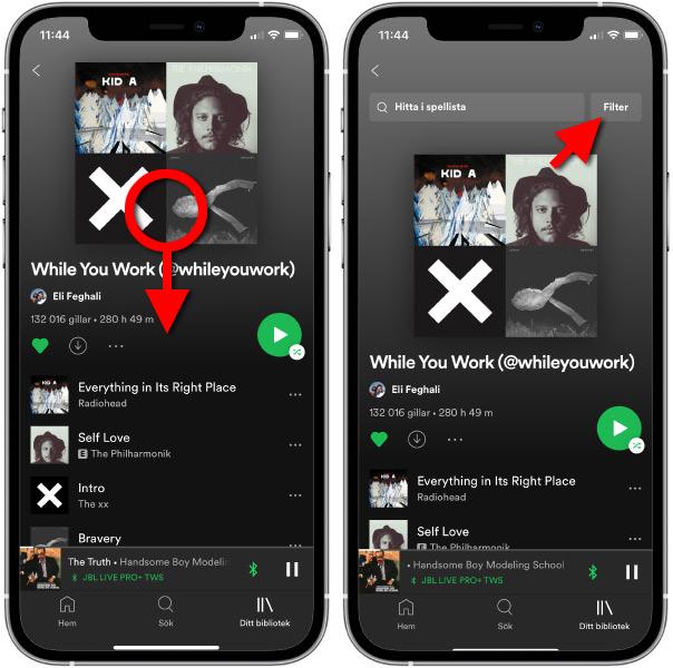 Filtrera spellista - Spotify - Spela nyast först