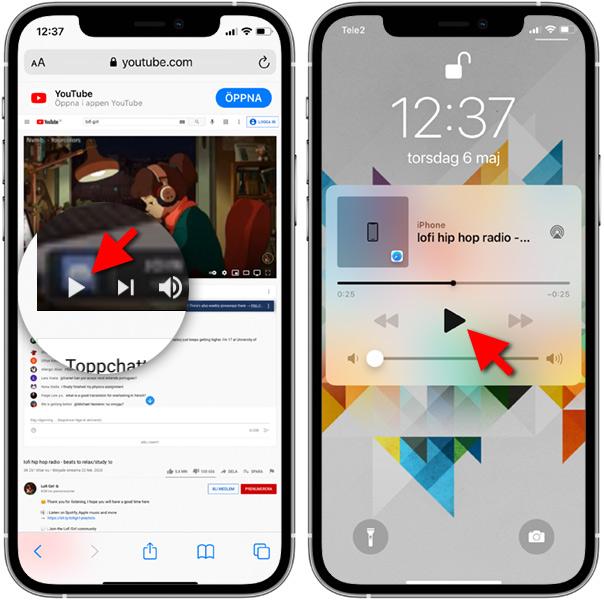 iPhone - Spela YouTube-video - Avstängd skärm