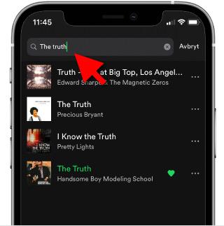 Spotify - Sök i spellista - iPhone - Android