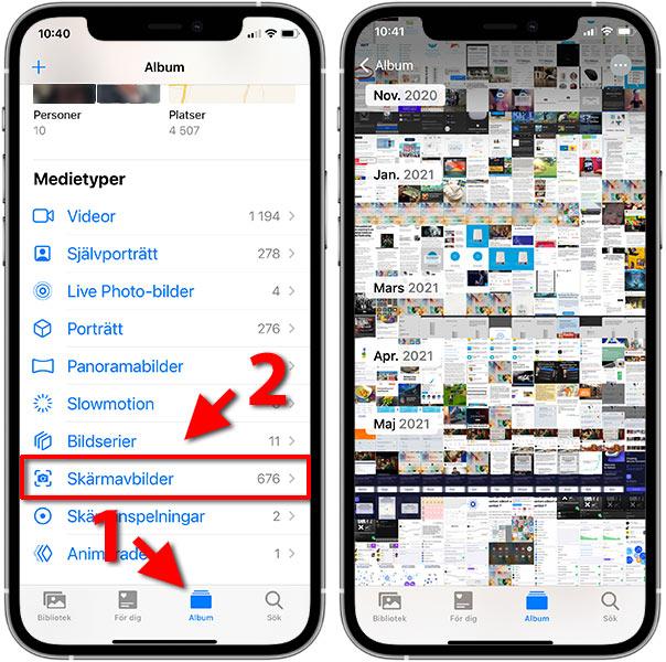 iPhone - Bilder - Album - Radera skärmavbilder