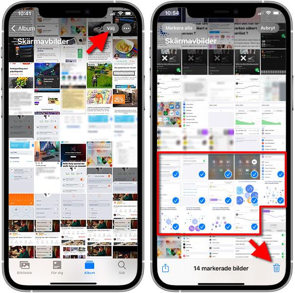 iPhone - Radera flera bilder - skärmbilder - print screen - samtidigt