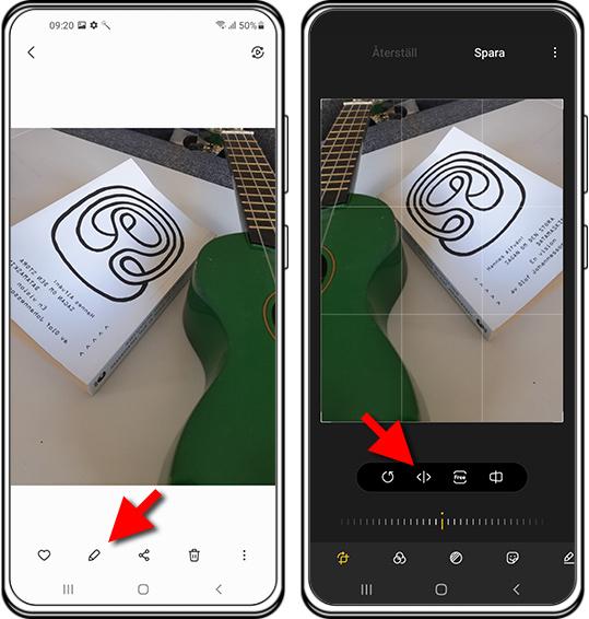 Vänd håll på bild eller film - Android-telefon - Samsung
