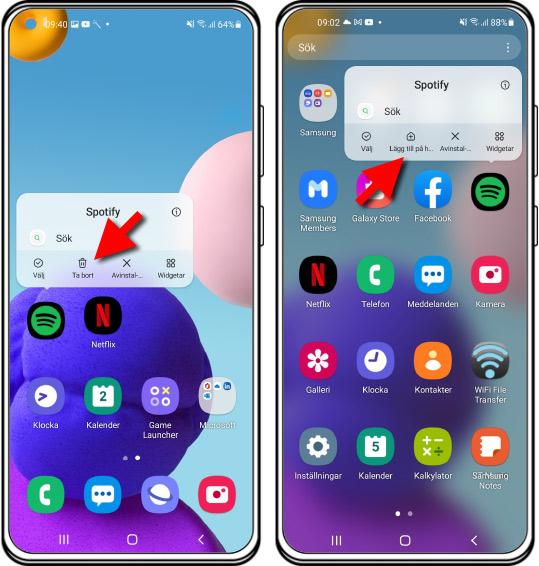 Android - Ta bort en app från hemskärmen - Lägg till app