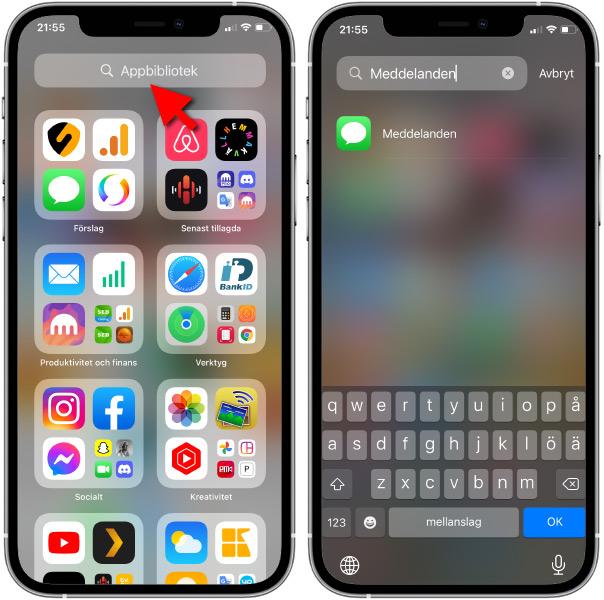 iPhone-app försvunnit - Hitta - App-översikt - App-bibliotek