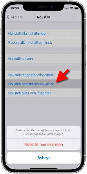 iPhone - Nollställ - Återställ - Hemskärmens layout