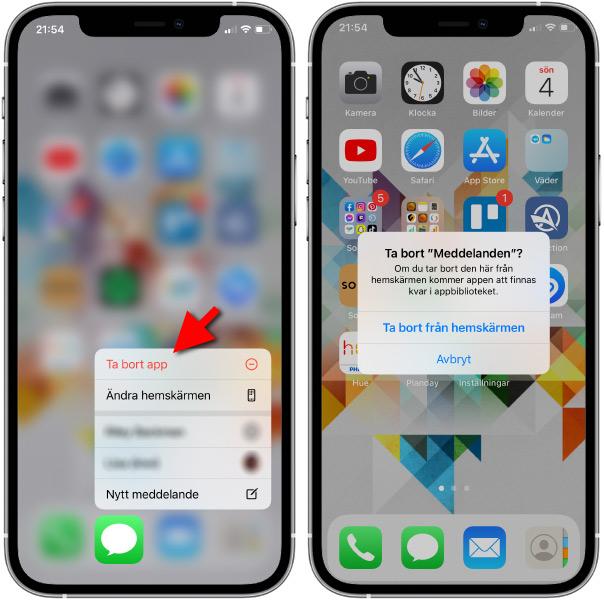 iPhone - Ta bort app från hemskärmen
