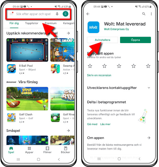 Radera appar via Google Play Store - Butik - Android