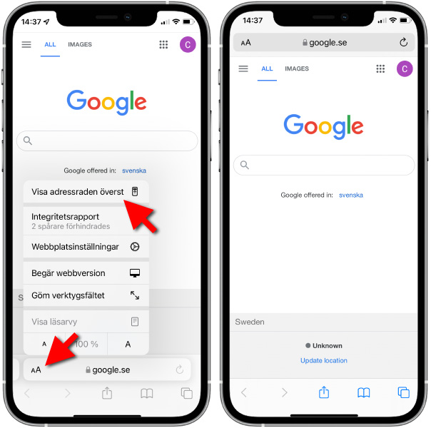 Flytta adressfältet högst upp på skärmen i Safari - iOS 15