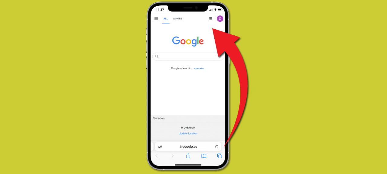 Flytta adressfältet - sökfältet - högst upp - Safari